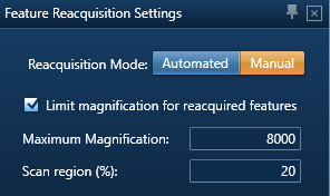 Settings for reacquiring features