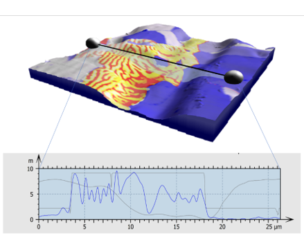 Relate visualisation of AFM Surface topography coloured with EBSD phase map, EBSD orientation contrast and Magnetic Force Microscopy data.   A profile is extracted showing the real data in each map layer.