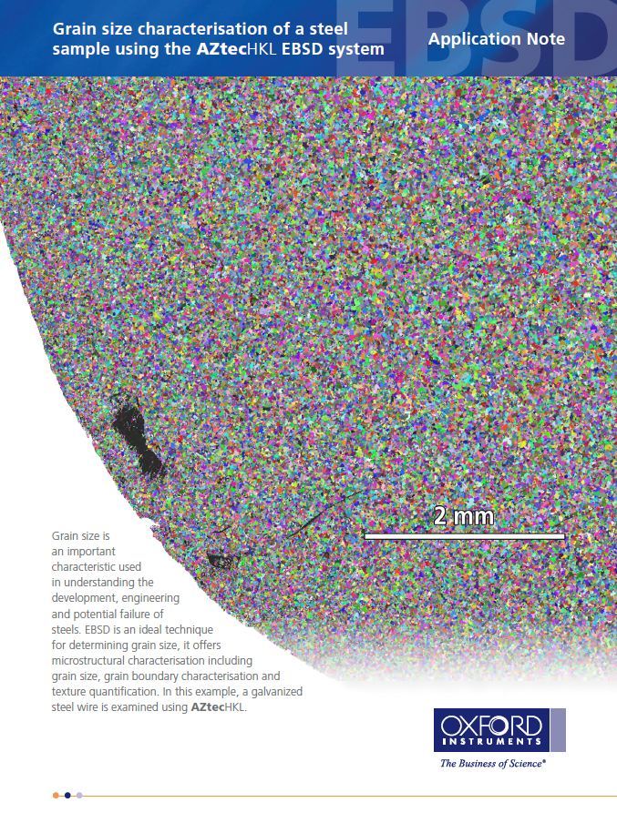 Grain Size characterisation of a steel sample using the