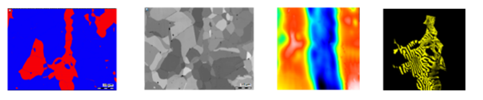 EBSD Phase Map showing ferrite (red) and austenite (blue) phases EBSD FSD Orientation Map providing contrast between different grain orientations AFM Topography Map indicating the physical z-height of the sample at each pixel AFM Magnetic Force Microscopy Map showing the AFM tip response to magnetic domains