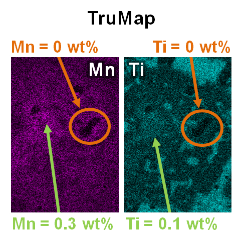 TruMaps for Mn and Ti in this sample reveal real variations in minor elements which have been confirmed by WDS. Variations in Mn between 0 and 0.3wt% and Ti between 0 and 0.1wt% are clearly visible.